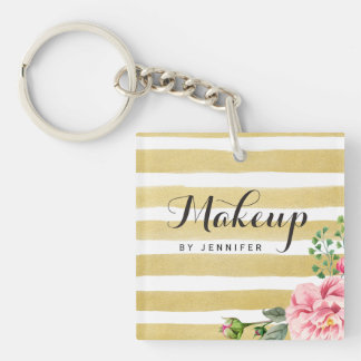 Makeup Beauty Salon Gold Stripes Pink Flower Decor Key Ring