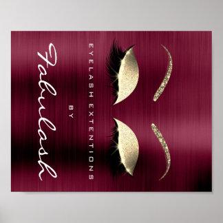 Makeup Beauty Salon Name Gold Burgundy VIP Poster
