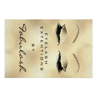 Makeup Beauty Salon Name Gold Glam Lux 11 Eyebrows Poster