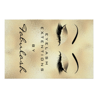 Makeup Beauty Salon Name Gold Glam Lux Eyebrows Poster