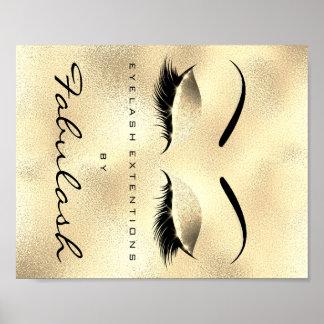 Makeup Beauty Salon Name Gold GlamGlitter Eyebrows Poster