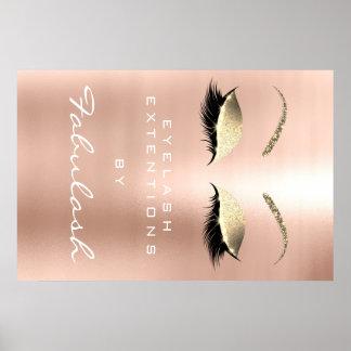 Makeup Beauty Salon Name Gold Pink Skinny Eyebrows Poster
