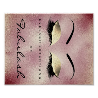 Makeup Beauty Salon Name Gold RoseGlitter Eyebrows Poster