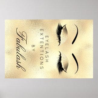 Makeup Beauty Salon Name Gold Unique Lux Eyebrows Poster