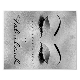 Makeup Beauty Salon Name Silver Glitter Eyebrows Poster