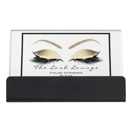 Makeup Beauty Salon Name White Gold Black Eyebrows Desk Business Card Holder