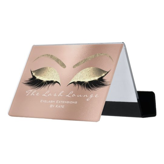 Makeup Beauty Salon Name White Gold Rose Eyebrows Desk Business Card Holder