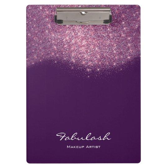 Makeup Beauty Studio Glitter Pink Purple Violet Clipboard