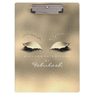 Makeup Beauty Studio Lashes Glass Gold White Clipboard