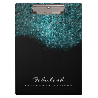 Makeup Beauty Studio Lashes Ocean Blue Sequin Clipboard