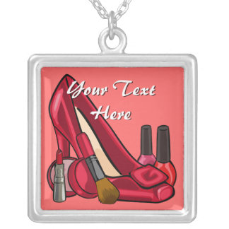 Makeup Cosmetics and Red Pump Shoe Silver Plated Necklace