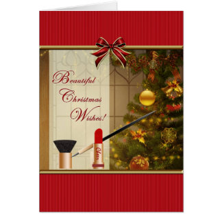 Makeup - Cosmetics Christmas Wishes Blank Card
