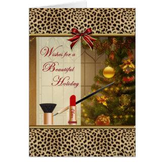 Makeup Cosmetics Happy Holidays Animal Print Card