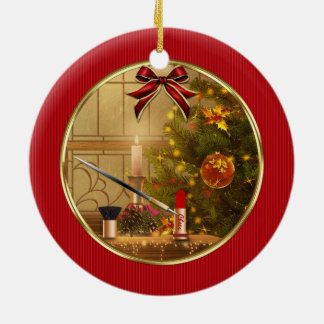 Makeup Cosmetics Red Christmas Holiday Ornament