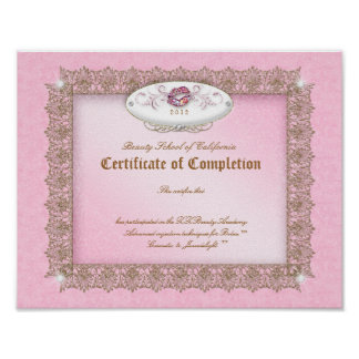 Makeup Diploma Certificate of Completion Pink Lips Poster