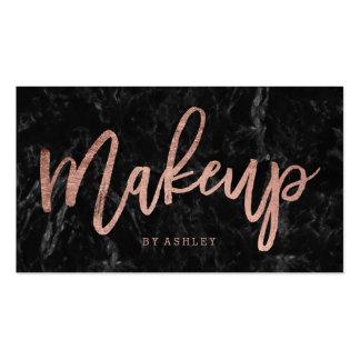 Makeup elegant rose gold typography black marble pack of standard business cards