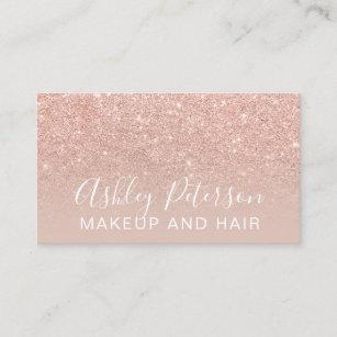 Glitter business cards zazzle au makeup elegant typography blush rose gold glitter business card colourmoves