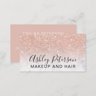 Glitter business cards zazzle au makeup elegant typography marble rose gold glitter business card colourmoves