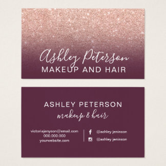 Makeup elegant typography plum rose gold glitter business card