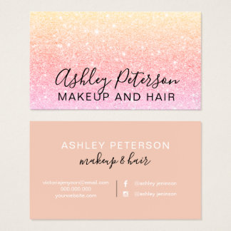 Makeup elegant typography yellow pink glitter business card
