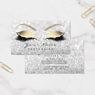 Makeup Eyebrow Eyes Lashes Glitter Grey Glam Business Card