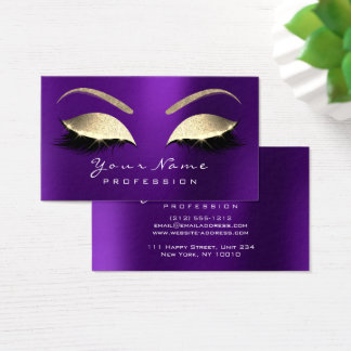 Makeup Eyebrow Eyes Lashes Glitter Lavender Purple Business Card