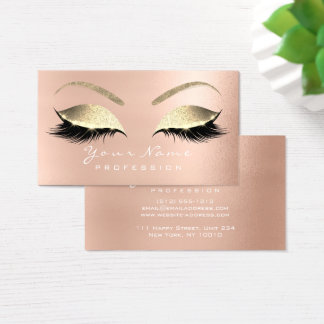 Makeup Eyebrow Eyes Lashes Glitter Rose Glam Business Card