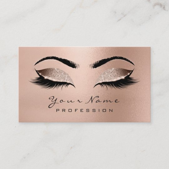172cd158324 Makeup Eyebrow Eyes Lashes Glitter Rose Gold Wow Business Card |  Zazzle.com.au