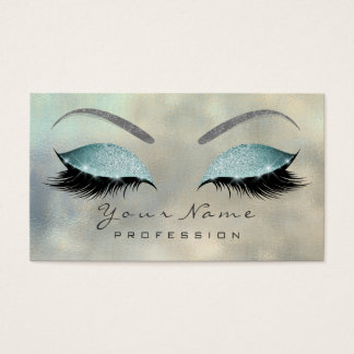 Makeup Eyebrow Eyes Lashes Glitter Silver Tiffany Business Card