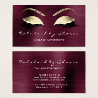 Makeup Eyebrow Lashes Glitter Crystal Burgundy Lux Business Card