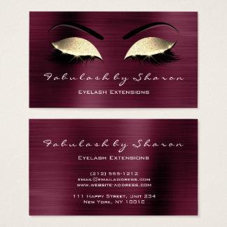 Makeup Eyebrow Lashes Glitter Crystal Burgundy VIP Business Card