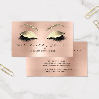 Makeup Eyebrow Lashes Glitter Crystal Rose Gold Business Card