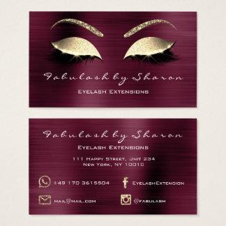 Makeup Eyebrow Lashes Glitter Diamond Burgundy Lux Business Card