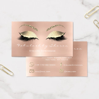 Makeup Eyebrow Lashes Glitter Diamond Pink White Business Card