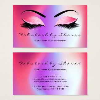 Makeup Eyebrow Lashes Glitter Skinny Miami Coral Business Card