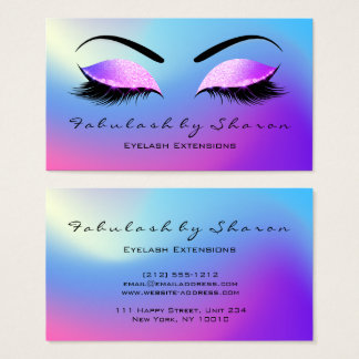 Makeup Eyebrow Lashes Glitter Skinny Miami Pink Business Card