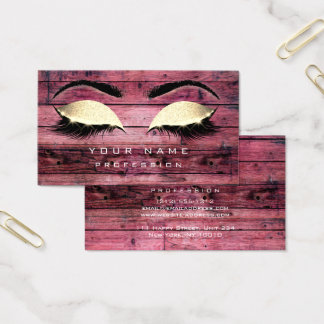 Makeup Eyebrows Lashes Rustic Black Wood Pink Business Card