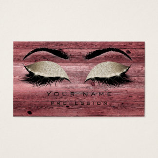 Makeup Eyebrows Lashes Rustic Pink Glitter Wood Business Card