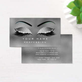 Makeup Eyes Lashes Glitter Gray Silver Eyebrow Business Card
