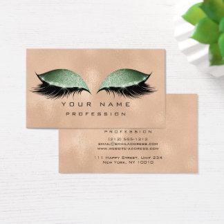 Makeup Eyes Lashes Glitter Metallic Glass Green Business Card