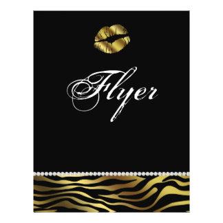 Makeup Flyer Hair Salon Nail Zebra Silver & Gold