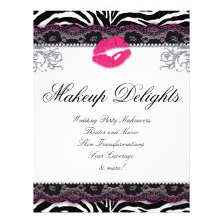 Makeup Flyer Hair Salon Zebra Lips Lace Pink