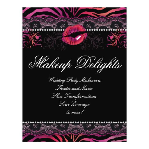 Makeup Flyer Hair Salon Zebra Lips Lace Pink Red