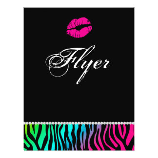 Makeup Flyer Hair Salon Zebra Pink Blue Green