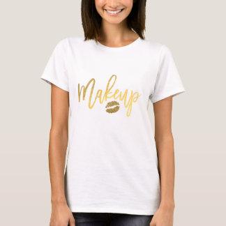MAKEUP Gold Modern Script & Lips Girly Trendy T-Shirt