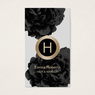 Makeup & Hair Modern Monogram Black & Gold Floral