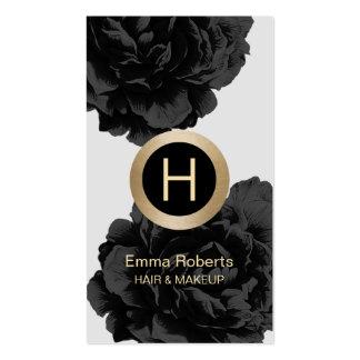 Makeup & Hair Modern Monogram Black & Gold Floral Pack Of Standard Business Cards