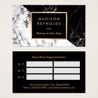 Makeup & Hair Salon Black White Marble Appointment