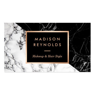 Makeup & Hair Salon Black White Marble Appointment Pack Of Standard Business Cards