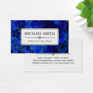 Makeup Hair Style Modern Dark Blue Abstract Business Card